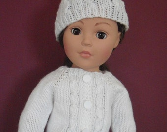 """Hand-knit cable cardigan sweater and hat set for American Girl and other 18"""" dolls."""