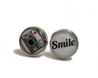 CAMERA EARRINGS - camera studs - camera jewelry - Accessories - gift under 20 - Quirky - Kitschy - Photographer Gift - Camera Gift Idea