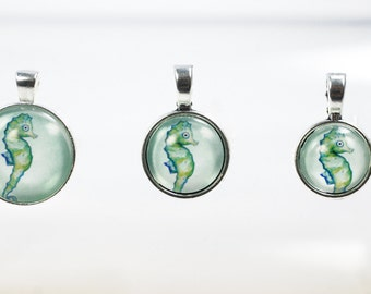 "Glass necklace round ""Atlantis seahorse, silver color different sizes"
