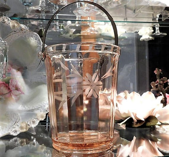 Pink Depression Glass Ice Bucket 1930s 30s Art Deco Bar Barware Etched Flower Floral Country Cottage Home Decor Wedding Housewarming Gift