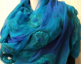 Nuno felt scarf for women green blue. Handmade silk felted shawl, wrap.
