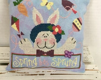 Easter Spring Has Sprung cross stitch, finished, completed, pillow