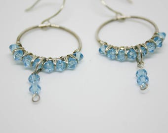 Hand Wrapped Aquamarine Swarovski Crystal Sterling Silver Earrings, Wire Wrapped Aquamarine Earrings, Dangle Earrings
