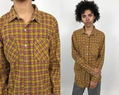 Pearl Snap FLANNEL Shirt 80s Yellow Red Black White Plaid Long Sleeve Snap Button Collared Tartan Classic Grunge Hipster 1980s Medium M