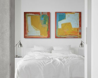 "Oil painting, canvas art, stretched, diptych ""Abstract OP"". Size 55.11/27.5 inches (2x 27.5 x 27.5 inch -140/70cm). Free Shipping!"