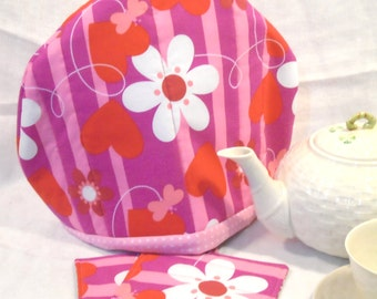 Handmade quilted tea cozy set hearts flowers butterflies made with Insulbright