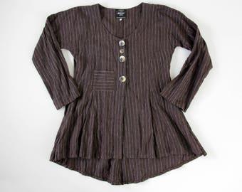 Vintage Jacket // Ewa i Walla Slouchy Linen Tunik with Pocket // Brown Striped Top