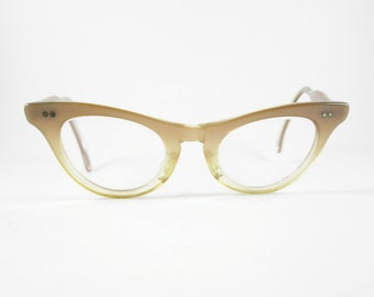 Cat Eye Glasses Frames Vintage Eyewear Atomic Mid Century Golden Brown Ombre