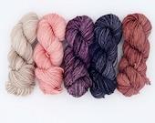 The Burrow - mini-skein set - 5 20g Mini Skeins - Tonal Yarn (Everyday and Sparkle Sock Bases)