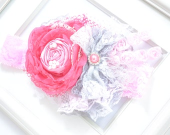 Hot pink and grey flower headband- OTT couture headband- Pink baby headband- girly girl headband