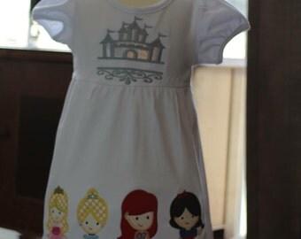 Disney princess monogram applique dress/cinderella/aurora/mermaid ariel/Snow White/disney vacation/Princess