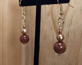 Gold Plated Drop Earrings with Goldstone Glass and Natural Golden Pearl