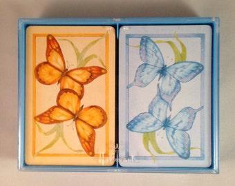 "Vintage Hallmark ""Butterflies"" Double Deck Bridge Playing Cards yellow blue in box"