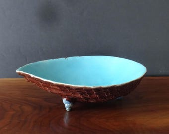 Joseph Holdcroft Antique Majolica Console Bowl-1880 Large Shell, Shell Feet,Turquoise and Brown