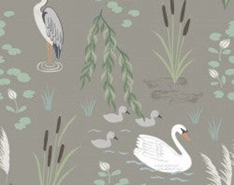 Swan and Heron on Pebble, Down By the River, Lewis and Irene, quilting cotton, fabric by the yard, nursery prints, animal fabric, spring