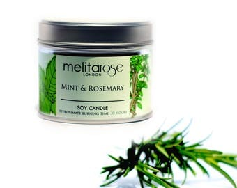 Mint & Rosemary  Soy Scented Candle Tin