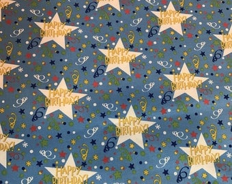 Happy Birthday Fabric - Blue - Free Spirit - Westminster Fibers - HM95 Stars - This is for a 1/2 yard cut