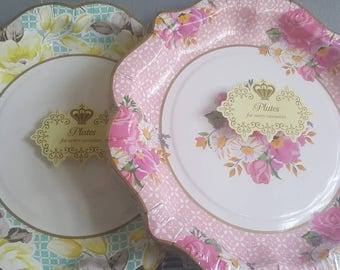 12 paper plates by truly scrumptious vintage floral design