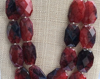 Red Blue statement necklace Red Blue Bib Red Blue Double strand Chunky necklace Red Necklace Red Blue Bridal jewelry