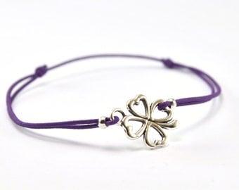 Bracelet purple cord clover