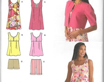 Simplicity Pattern 2939 MINI DRESS  or Top SHORTS Jacket Misses 4 6 8 10 12