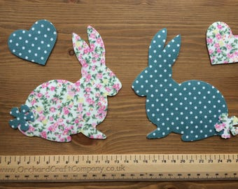 2 Fabric Iron On Bunny Rabbit Appliques with Hearts, Floral/Dotty