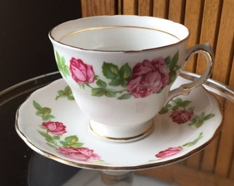 Vintage Royal Vale cup and saucer with rose design