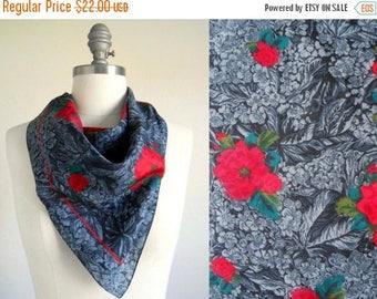 30% SALE - 80s vintage scarf - red grey floral scarf - 80s Jamie scarf