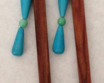 8 inch rosewood ss hair sticks with sterling silver wire wrapped turquoise beads on each hair stick