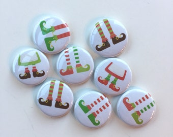 ELF FEET BUTTONS holiday flair pin badge crafting scrapbooking december daily