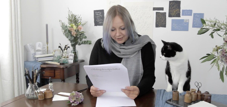 calligraphy cat Bertie