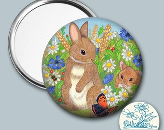 Rabbit and Mouse illustrated - Pocket Mirror