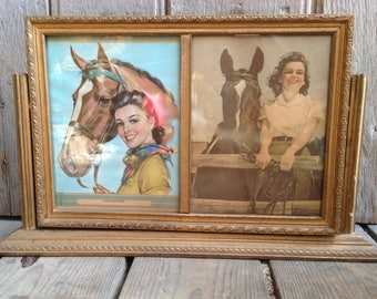 vintage horse print in frame / mantel piece decor / horse lover / horseback riding