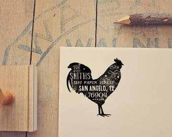 Rooster Return Address Stamp - Rustic Address Stamp - Farmhouse Rubber Stamp - Farmer Gift
