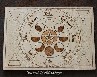 Year wheel altar centerpiece / / pentacle / / centre piece