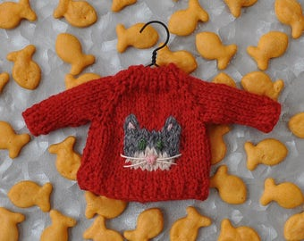 Grey Cat Hand-Knit Sweater Ornament