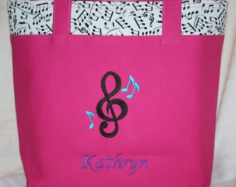 Personalized Music Bag (With Embroidered Trebel Clef, Music Notes, and Name)