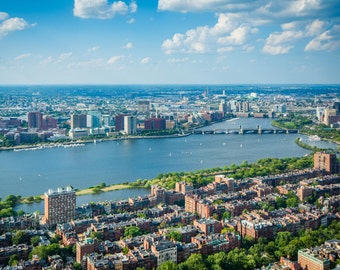 View of Back Bay and the Charles River, in Boston, Massachusetts. | Photo Print, Stretched Canvas, or Metal Print.