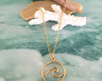 New! Circle Wave Pendant 24kt Plated