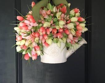 spring  wreath -tulip wreath-summer wreath - tulip wreath - easter wreath - monogram wreath