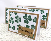 Blessings Note Cards - Shamrock Note Cards - Green Note Cards - Set of 4 Note Cards - Set of 4 Cards - Note Cards - Kraft Paper Note Cards