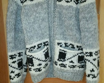Vintage grey, white and black wool sweater.