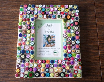 Button embellished wood frame