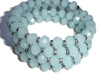 Crystal Wrap bracelet Czech glass wrap bracelet Wrap bracelet memory wire bracelet multi wrap four wrap bracelet icy blue bracelet unique
