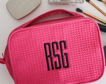 Custom Monogram Embroidered Waffle Cosmetic Bag
