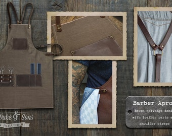 Barber Apron, brown selvedge denim with brown leather parts (handmade) with pockets for shears and combs. Very comfortable to wear all day