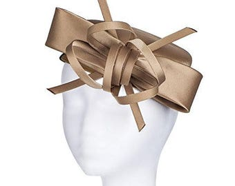 Janeo Kate Pillbox Fascinator Hat Headwear. Classic, Crisp and Clean Shape with Bows. Pearlised Satin Pill Box in 5 Colours - Champagne