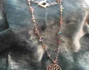 Sakura tree of life necklace