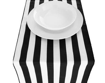 Stripes Black and White Table Runner for Weddings & Parties