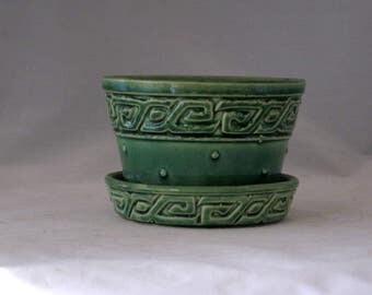 McCoy Flower Pot, Grecian Key Design, Mid Century